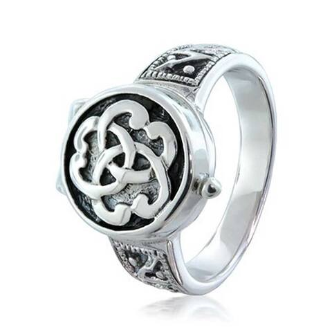 Loved One Remembrance Triquetra Irish Celtic Knot Cremation Urn Locket Memory Sterling Silver Trinity Ring