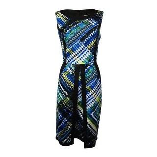 Ellen Tracy Women's Belted Print Trim Pocket Dress - Blue/Multi