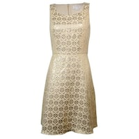 Jessica Simpson Women's Metallic Floral Lace Panel Dress - Champagne