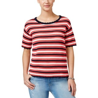 Tommy Hilfiger Womens Pullover Sweater Crochet Jewel Neck - L
