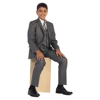 Little Boys Linen Gray Vest Pants Jacket Necktie White Shirt 5 Pcs Suit Set 2-7