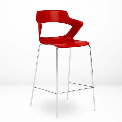 Zee Bar-Height Stool, Easy-to-Clean Shell, Chrome Base with Footrest