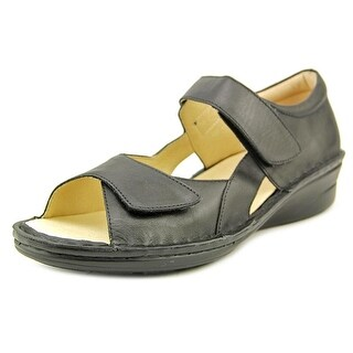 Spring Step INDULGE Women Open Toe Leather Black Wedge Sandal
