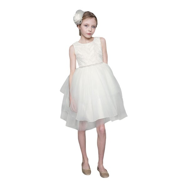 4e0e5b6765 Shop Little Girls Ivory Feather Hi-Low Tulle Flower Girl Dress - Free  Shipping Today - Overstock - 21611372