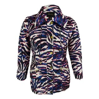 Thalia Sodi Women's Zebra Print Tab Sleeve Anorak Jacket - l