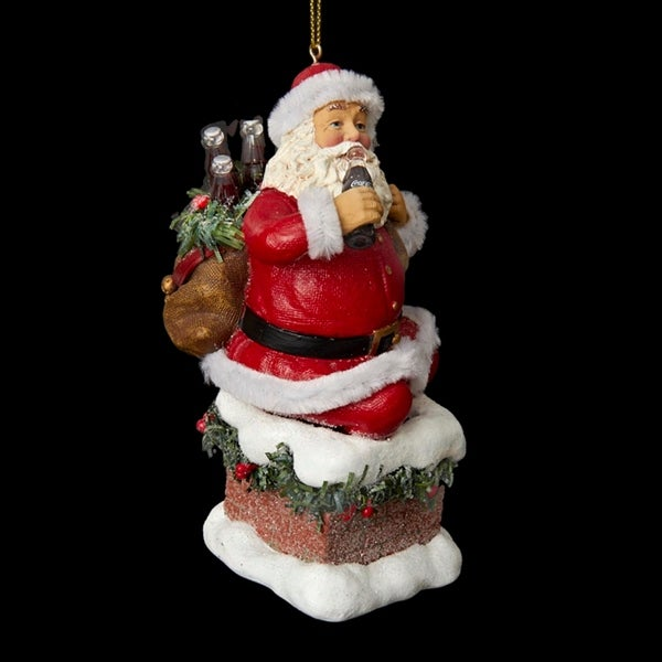 "4.5"" Santa Claus Coming Out of Chimney Decorative Christmas Ornament - RED"