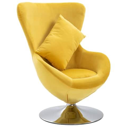 vidaXL Swivel Egg Chair with Cushion Yellow Velvet