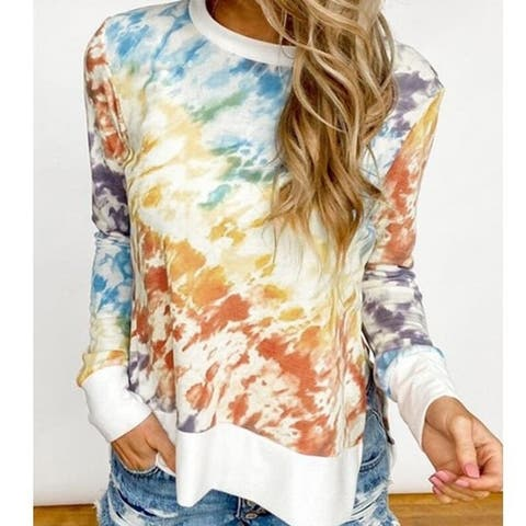 Tie Dye Printed Long Sleeve Pullover Sweatshirt