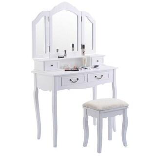 Tri Folding Mirror White Wood Vanity Set Makeup bathroom Table Dresser 4 Drawers + Stool