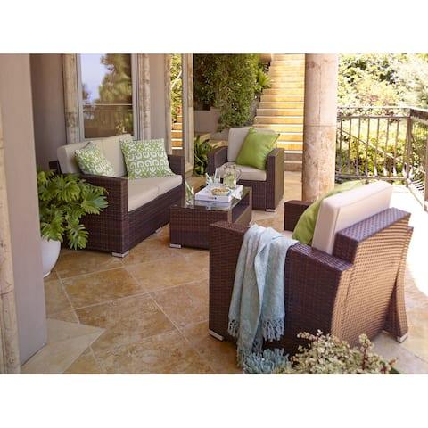 Sabrina Outdoor 4-piece Wicker Conversation Set- with Cushions