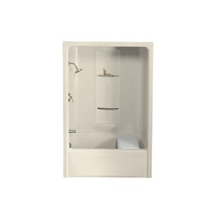 """Kohler K-1681 Sonata 60"""" Acrylic Soaking Tub and Shower Stall for Alcove Installations with Left Drain - Less Grab Bar"""