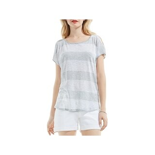 Two by Vince Camuto Womens Summer Breeze Casual Top Heathered Striped