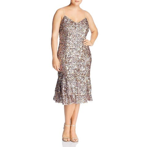 Adrianna Papell Womens Midi Dress Sequined Cocktail - Pink Multi