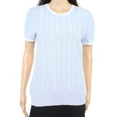 Lauren by Ralph Lauren Womens Top Blue Size Large L Pointelle Knit