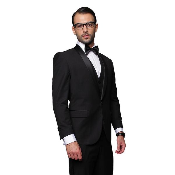 BLACK TUXEDO Men's 3pc Suit, Modern Fit, 1 Button, 2 Side Vent, Flat Front Pants