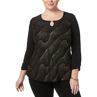 NY Collection Womens Plus Blouse Metallic Keyhole