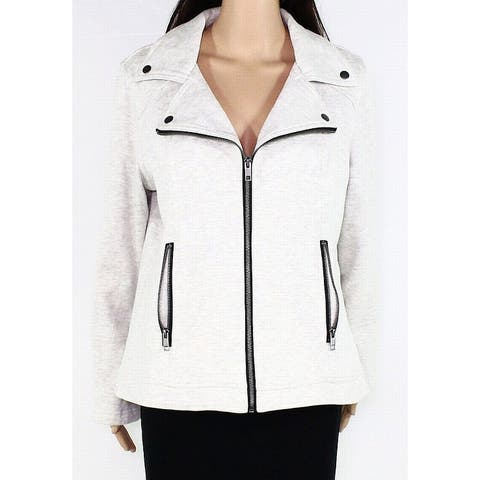 Style & Co Womens Moto Jacket Beige Gray 4X Plus French Terry Full-Zip