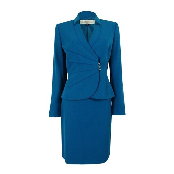 Shop Tahari Asl Women S Crepe Crossover Jacket Skirt Suit Peacock