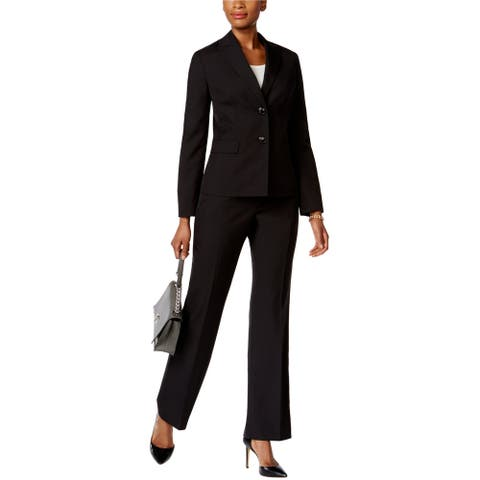 Le Suit Womens Tonal Pinstripe Pant Suit, Black, 10