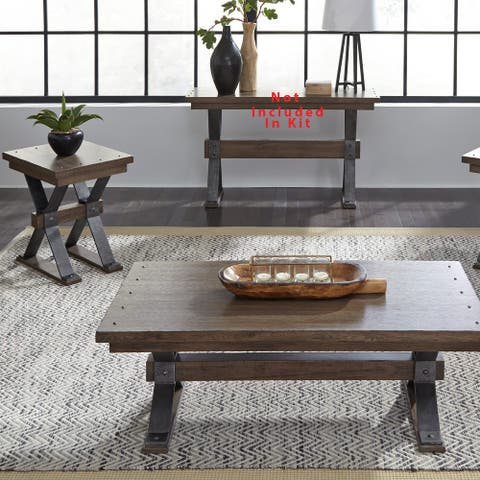 Sonoma Road Weathered Beaten Bark and Metal 3-piece Occasional