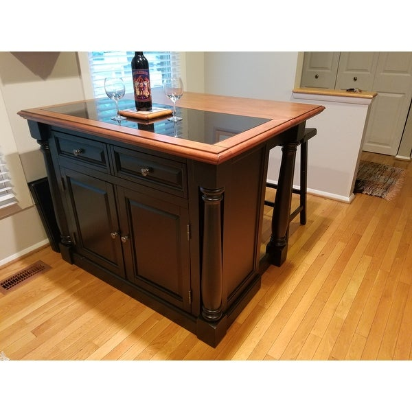 Home Styles Monarch Distressed Oak and Granite Top Black Wooden ...