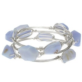 Wire Wrapped Bangle Bracelets, Set of 3, Blue Chalcedony Gemstone and Silver, Exclusive Beadaholique Jewelry Kit