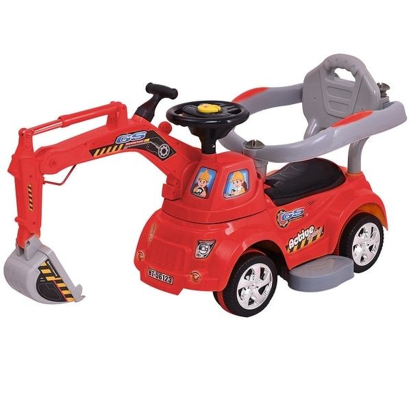 Gymax Electric Ride On Excavator Digger Sliding Car Pulling Cart w/ Remote Control - Red