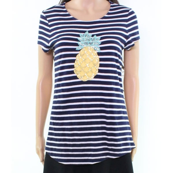 d51bde5835c4d Shop Charter Club Blue Striped Women s Size XS Pineapple Tee Knit Top -  Free Shipping On Orders Over  45 - Overstock - 21355852