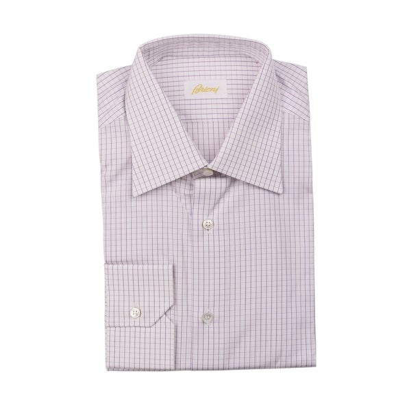 ec816c3cf4fb8 Shop Brioni White Purple Geometric Print Dress Shirt 100% Cotton ...