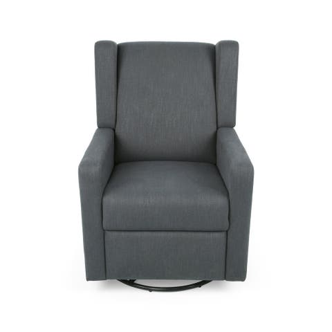 Hounker Contemporary Upholstered Swivel Recliner by Christopher Knight Home