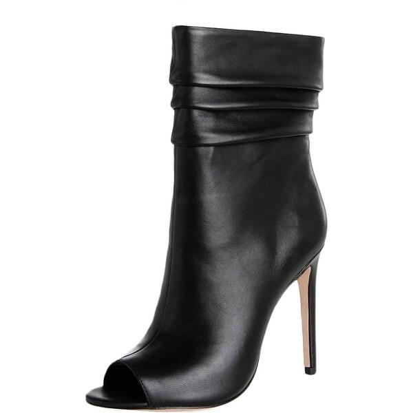 Halston Heritage Womens Sandra Mid-Calf Boots Pleated Open Toe
