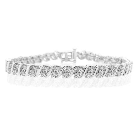 "925 Sterling Silver 1.00 Carat Diamond S Link Bracelet -7.25"" for Women"