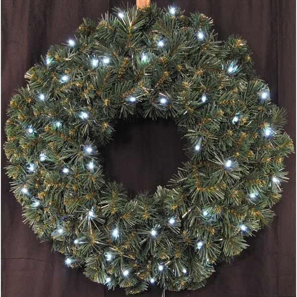 Christmas at Winterland WL-GWSQ-02-LCW-BAT 2 Foot Pre-Lit Battery Operated Pure White LED Sequoia Wreath - Pure White - N/A
