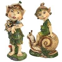 Design Toscano Pixie Pete Elfin Gnome Garden Statues: Set of Two