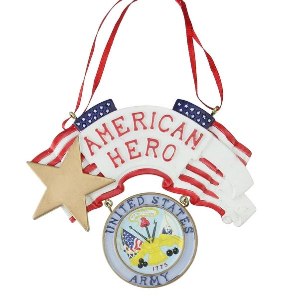"4.25"" ""American Hero"" US Army Christmas Ornament for Personalization - silver"