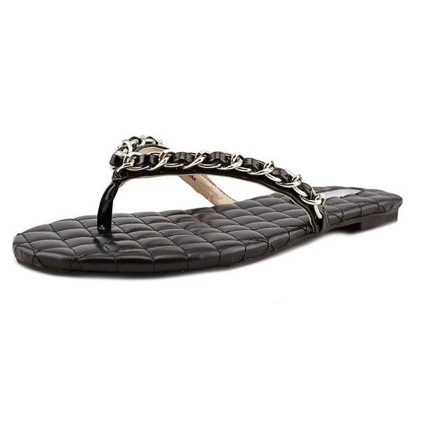 INC International Concepts Maceo Women Open Toe Synthetic Black Thong Sandal