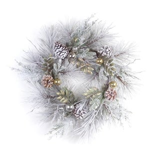 Pack of 2 Flocked Artificial Christmas Pine Wreath With Ornaments 27