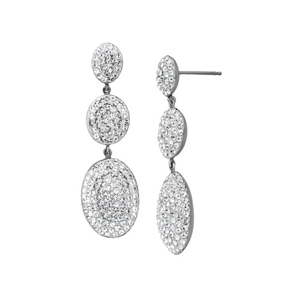 Crystaluxe Three-Tiered Drop Earrings with Swarovski elements Crystals in Sterling Silver