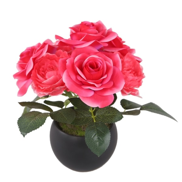 """9"""" Potted Pink Rose Flowers - N/A"""