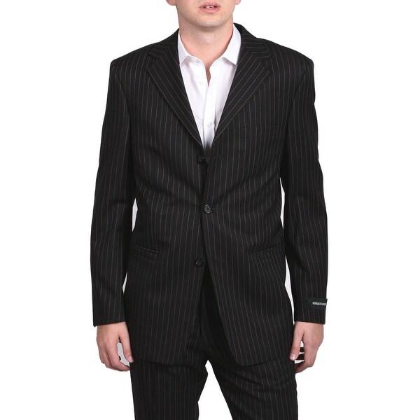Versace Classic Pinstripe Men's Two-Piece Wool Suit Black/White