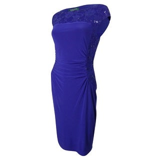 Ralph Lauren Women's Sequined Lace Trim Jersey Dress