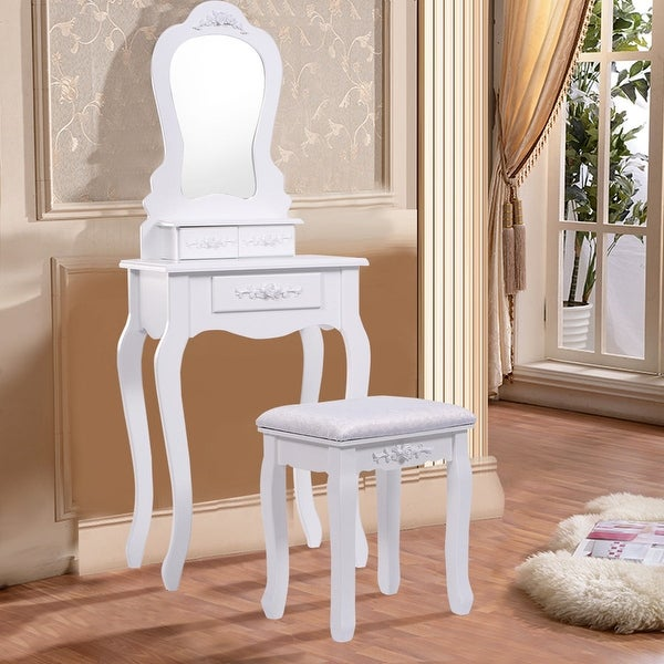 Shop Costway White Vanity Jewelry Makeup Dressing Table ...