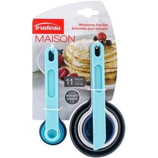 Measuring Cups & Spoons Set 11Pcs-Grey, White, Turquoise & Light Blue