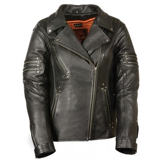 Womens Updated Black Leather Motorcycle Style Jacket