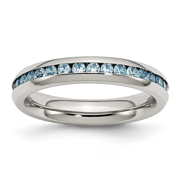 Stainless Steel 4mm December Teal CZ Ring