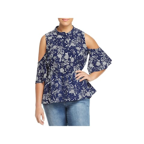 Lysse Womens Plus Peplum Top Cold Shoulder 1/2 Placket