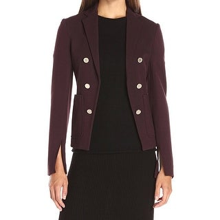 Theory NEW Purple Womens Size 2 Double-Breasted Slit-Sleeves Jacket
