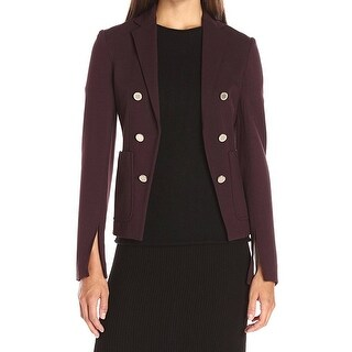 Theory NEW Purple Womens Size 6 Double-Breasted Slit-Sleeves Jacket