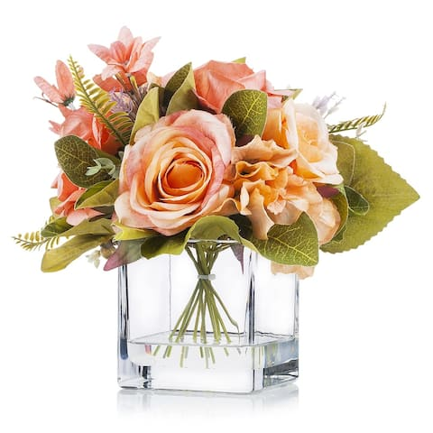 Enova Home Artificial Mixed Fake Silk Roses and Hydrangea Flowers Arrangement in Cube Glass Vase with Faux Water For Home Decor