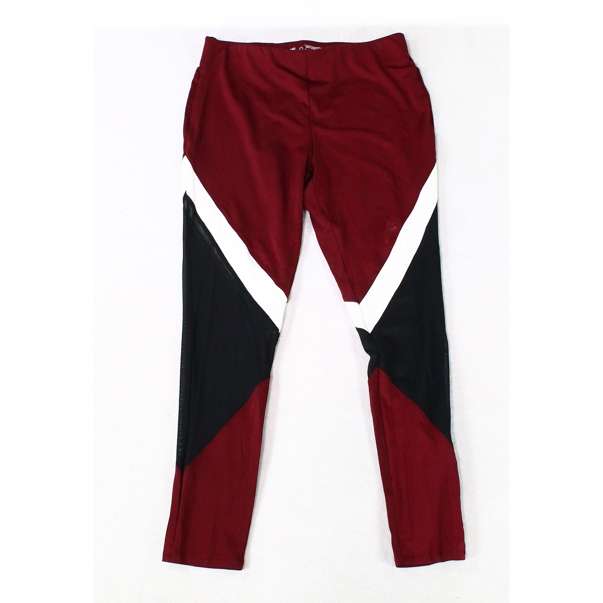 174f3bb002 Material Girl Red Black White Womens Size Large L Striped Leggings